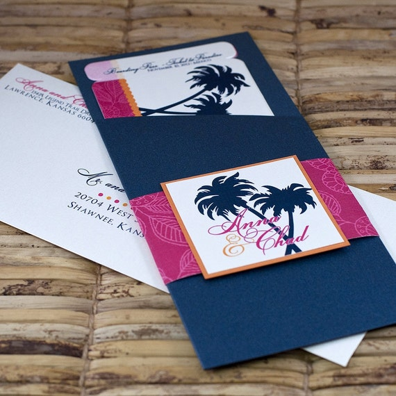 Boarding Pass Invitation or Save the Date Design Fee (Navy Palm Tree with Fuschia and Tangerine)