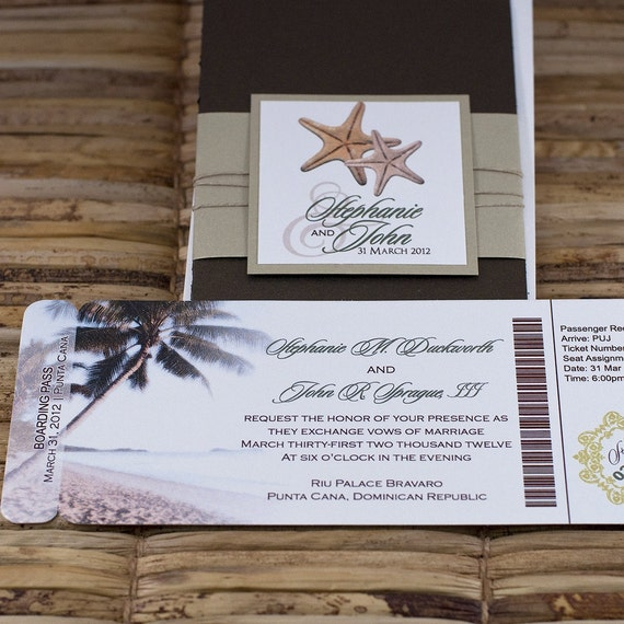 Boarding Pass Invitation Or Save The Date Design Fee Palm