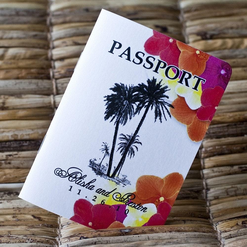 Passport Wedding Invitation Design Fee Tropical Palms And