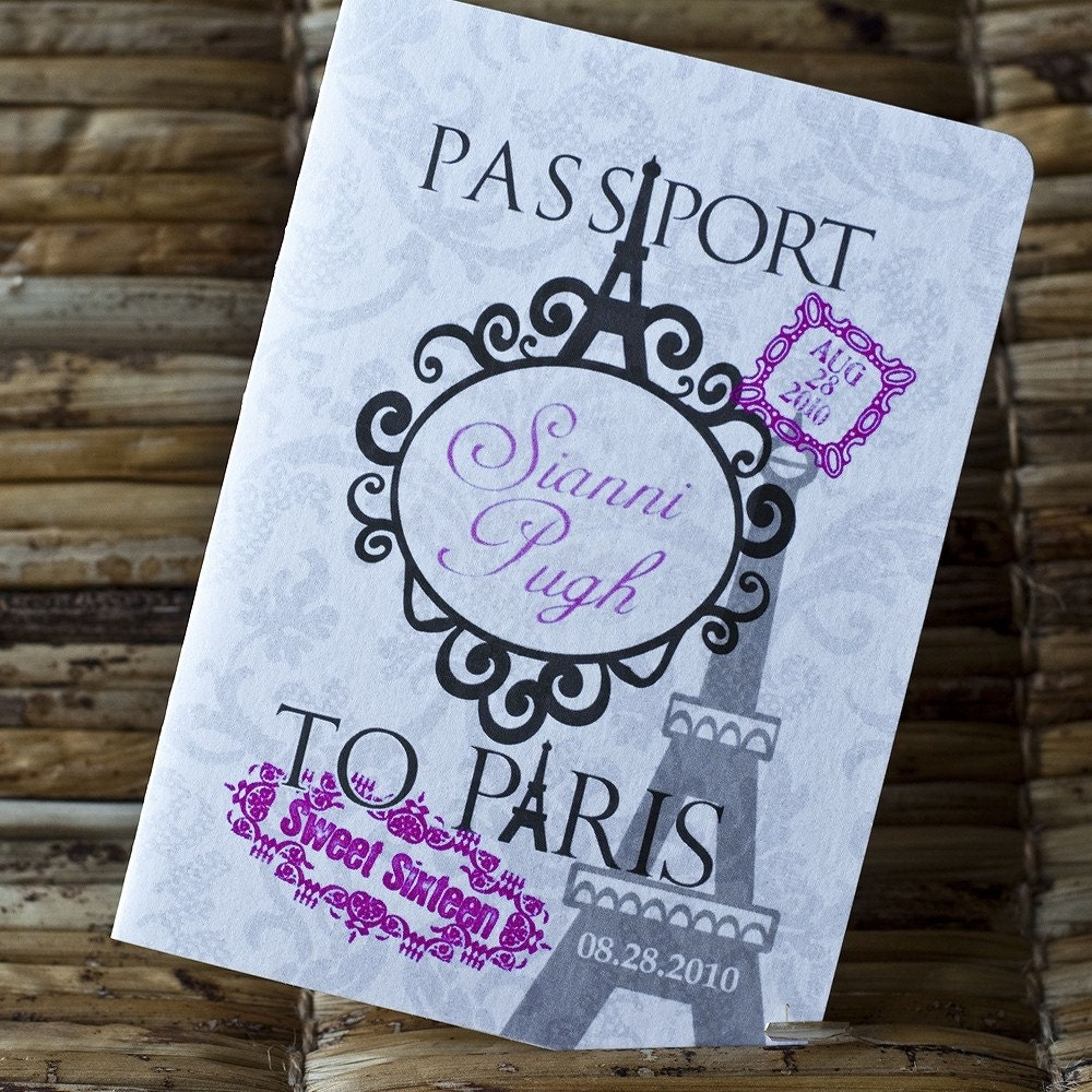 Passport Invitation Design Fee Sweet Sixteen Paris Themed