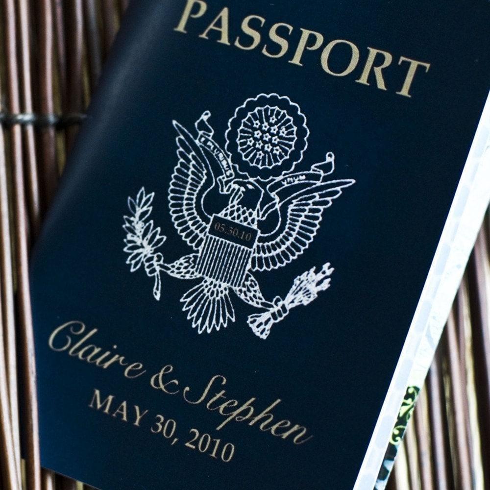 Passport Wedding Invitation Design Fee US Traditional Emblem