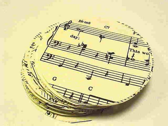 VINTAGE Craft Supplies--100 HAND-Cut Circles from Old MUSIC Book