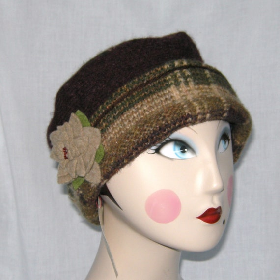 Upcycled Felted Wool Hat (larger size)