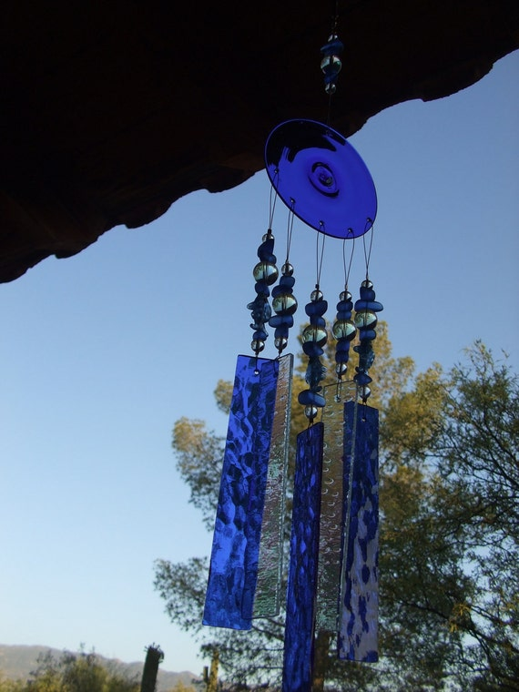 Fish, Bubbles and Blue Stained Glass Windchime
