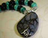 Black Widow Agate Pendant with Malachite and Lava Stone