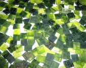 100 1/2 Inch Limeade Green Tumbled Stained Glass Mosaic Tiles