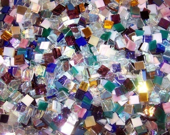 100 1/2 Inch Iridescent Mixed Color Stained Glass Mosaic Tiles