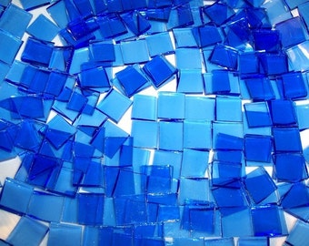 100 1/2 Inch Blue Cathederal Stained Glass Mosaic Tiles