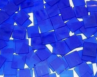 25 1 Inch Square Cobalt Blue Tumbled Stained Glass Mosaic Tiles