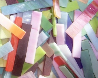 100 Mixed Colors Tumbled 2 Inch Border Stained Glass Mosaic Tiles