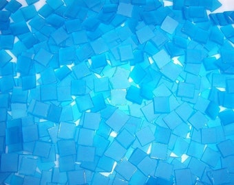 Mini 3/8 Inch Periwinkle Blue Tumbled Stained Glass Mosaic Tiles