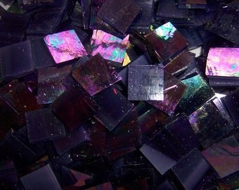 100 1/2 Inch Purple Iridescent Stained Glass Mosaic Tiles