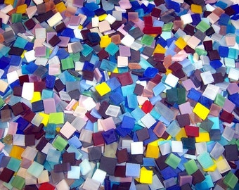 3/8 Inch Mini Mix Color Tumbled Stained Glass Mosaic Tiles