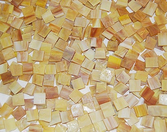 100 1/2 Inch Mustard Yellow Tumbled Stained Glass Mosaic Tiles