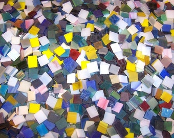 500 Mixed Colors Tumbled Stained Glass Mosaic Tiles