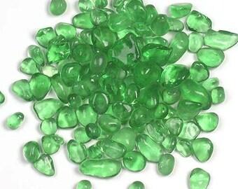 Green Glass Pebbles Mosaic Tiles Floral Vase Fillers