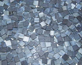 100 1/2 Inch Gray Flannel Tumbled Stained Glass Mosaic Tiles