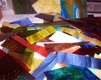 5lbs Large Scrap Pieces Stained Glass Mosaic Tiles