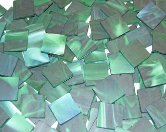 25 1 Inch Square Streaky Green Tumbled Stained Glass Mosaic Tiles