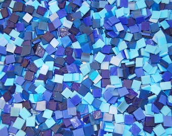 3/8 Inch Shades of Blue Mini Mix Color Tumbled Stained Glass Mosaic Tiles
