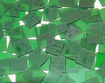 25 1 Inch Square Pine Green Tumbled Stained Glass Mosaic Tiles