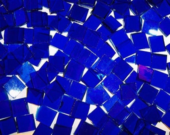 100 1/2 Inch Cobalt Blue Cathederal Stained Glass Mosaic Tiles