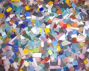 500 Mixed Colors Tumbled Confetti Stained Glass Mosaic Tiles