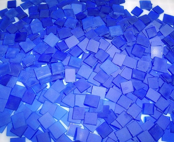 100 1/2 Inch Cobalt Blue Tumbled Stained Glass Mosaic Tiles