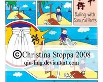 Sailing with Samurai Pants - Original Art Postcard by Christina Stoppa