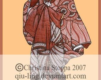 Himba Kimono - Original Art Print by Christina Stoppa