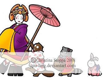 Oiran Parade - Original Art Card by Christina Stoppa