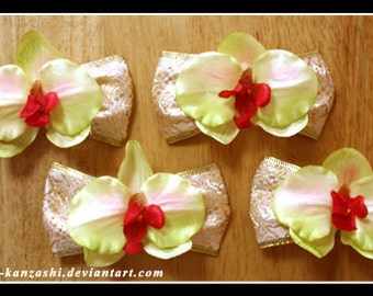 Pale Yellow Orchid Hair  Clip