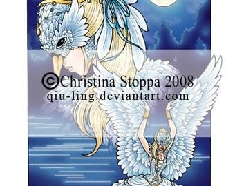Swan Maiden - Original Art Print by Christina Stoppa