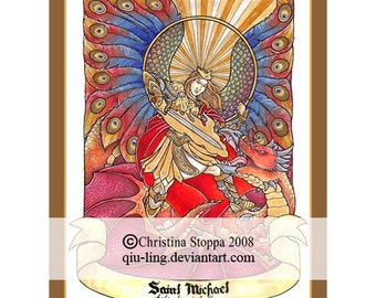Saint Michael Defend us in Battle - Original Art Print by Christina Stoppa