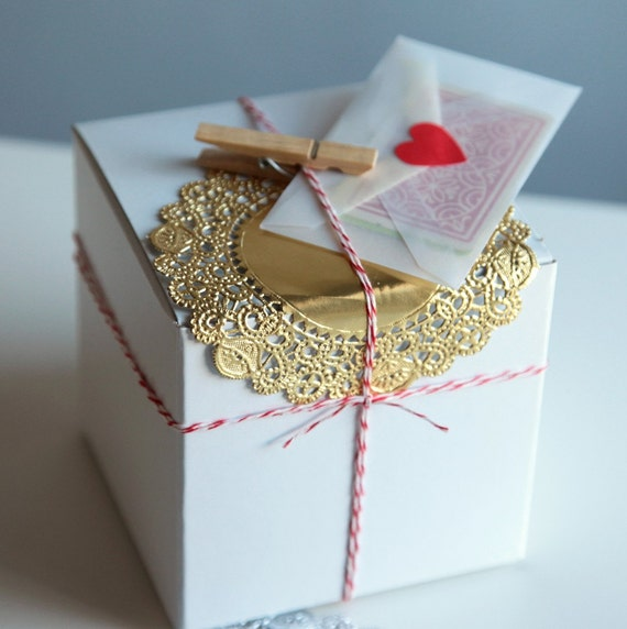 Holiday Gift Wrap DIY Packaging Kit / Card Making Craft Inspiration Pack in Silver, Red and Gold