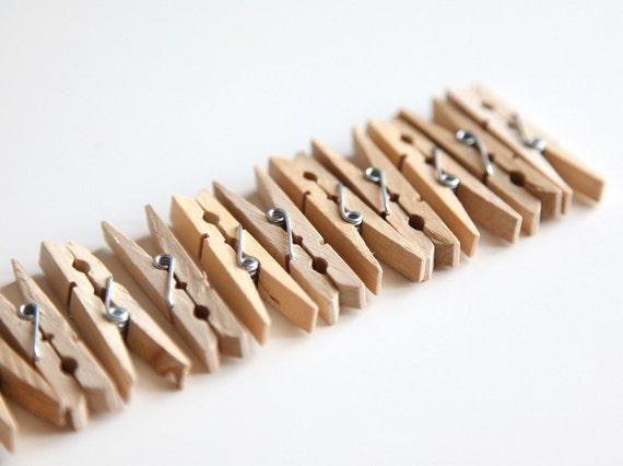 One Dozen (12) Small Wood Clothespins