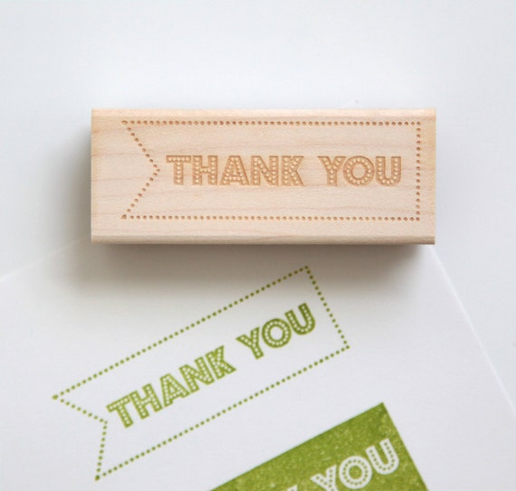 Thank You Rubber Stamp (Wood Mounted) Original Retro Typographic Design with optional wood handle (S201) Black Friday Cyber Monday Special