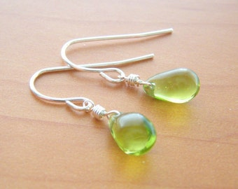 Dots - lime green briolette drop earrings