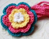 Crochet Clip Flower Headband - Peacock Blue-Hot Pink- Yellow