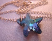 Blue Crysal Starfish Necklace--RESERVED FOR PROMOSINASNAP