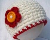 Cute Off White Cream Crochet Newborn Baby Girl Beanie Hat w/ Sweet Red & Yellow Button Flower (Preemie -12 months) Photo Prop