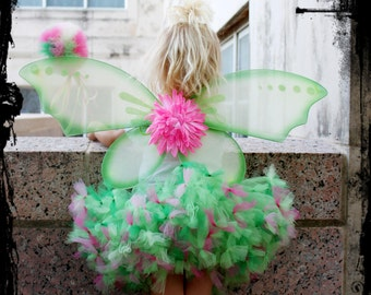 Whimsical Pink Green Tinkerbell Petti Tutu For Toddler 2t 3 4 years FULL dress