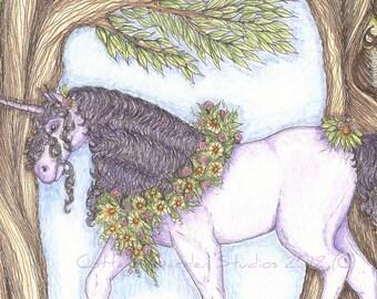 Unicorn Fantasy Illustration, Woods, Owl, Print
