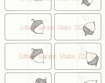 Acorn Gift Cards, Digital Download, Autumn Art, Fall