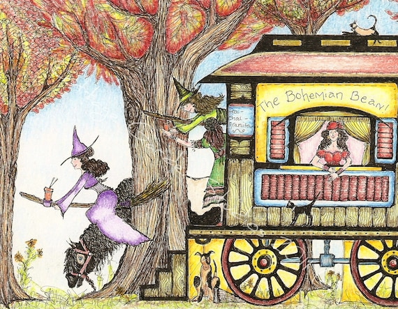 Witch Folk Illustration, Coffee Art, Gypsy Wagon, Witch Art, Coffee Stand