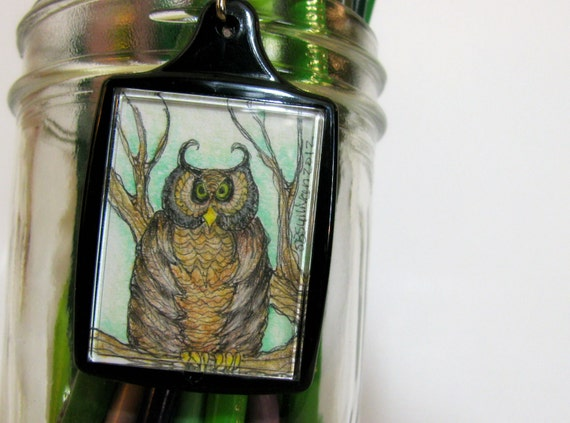 Owl Keychain, Folk Art, Illustration, OOAK