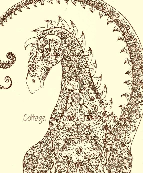 Dragon Art, Zentangle, Henna Dragon Illustration, Fantasy Art, Om Dragon