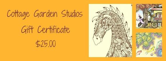 Gift Certificate, 25, Cottage Garden Studios