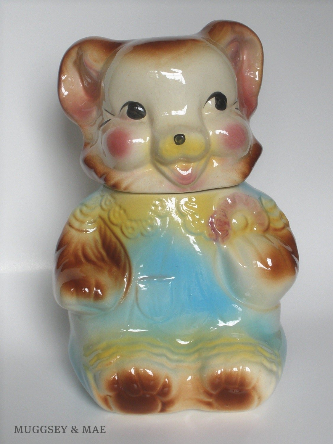 American Bisque Bear With Cookie Vintage Cookie Jar 1950