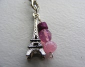 SALE - Paris Eiffel Tower Charm and Beads Cell Phone Charm Lariat Loop w\/Lobster Clasp